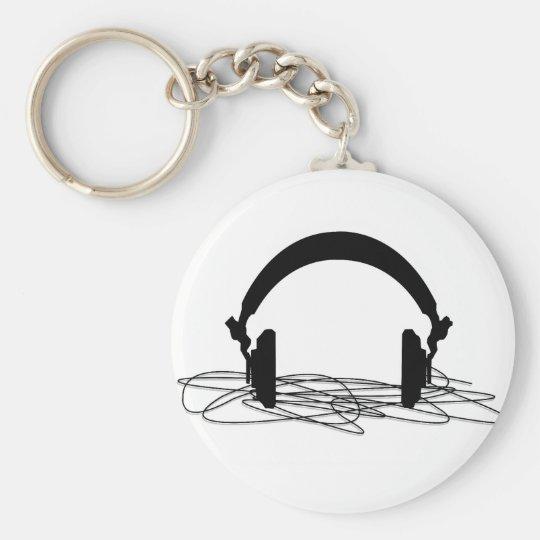 headphone basic round button key ring