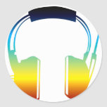 headphone classic round sticker