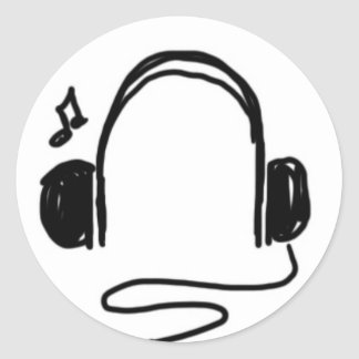 Headphone Doodle Black on White Classic Round Sticker