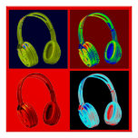 Headphone Four Colours Pop Art Poster Print