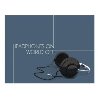 Headphone On World Off Postcard