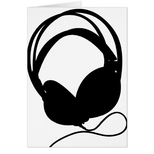 Headphone Silhouette Greeting Card