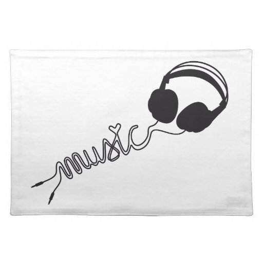 headphone silhouette with music and heart placemat | Zazzle
