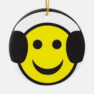 Headphone Smiley Face Rave Round Ceramic Decoration