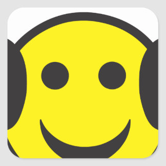 Headphone Smiley Face Rave Square Sticker