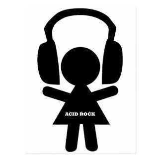 Headphones Acid Rock Postcard