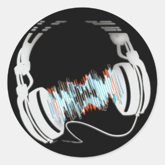 Headphones Classic Round Sticker