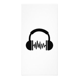 Headphones Frequency DJ Customized Photo Card
