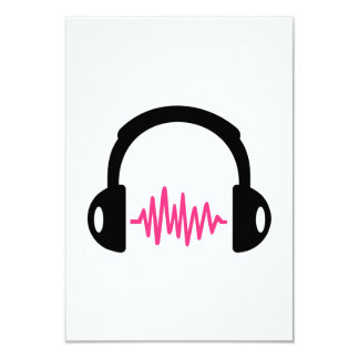 "Headphones Frequency 3.5"" X 5"" Invitation Card"