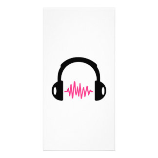 Headphones Frequency Photo Card