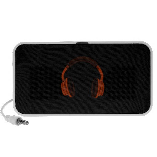 Headphones Grunge Faded Red Brown Graphic Portable Speaker