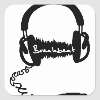 Headphones Headphones Audio Wave Motif: Breakbeat Square Sticker
