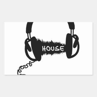 Headphones Headphones Audio Wave Motif: House Musi Rectangular Sticker