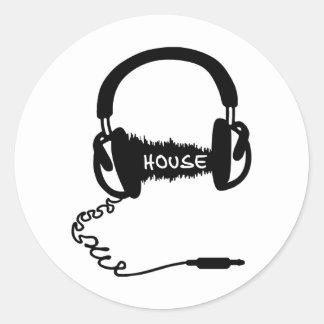 Headphones Headphones Audio Wave Motif: House Musi Round Sticker