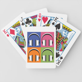 headphones in Bright Colours Bicycle Playing Cards