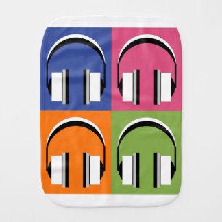 headphones in Bright Colours Burp Cloth