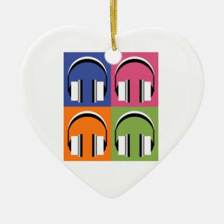 headphones in Bright Colours Ceramic Heart Decoration