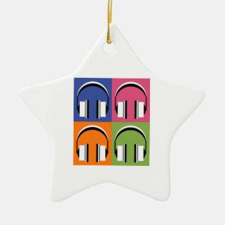 headphones in Bright Colours Ceramic Star Decoration