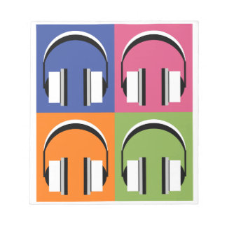 headphones in Bright Colours Notepad