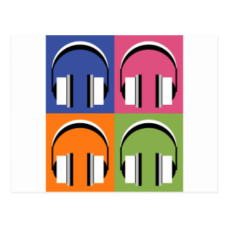 headphones in Bright Colours Postcard