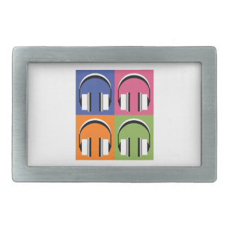 headphones in Bright Colours Rectangular Belt Buckle
