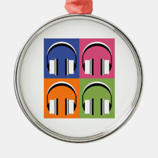 headphones in Bright Colours Silver-Colored Round Decoration