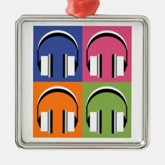 headphones in Bright Colours Silver-Colored Square Decoration