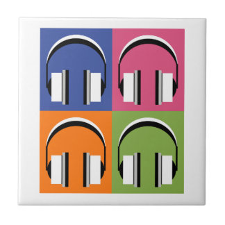 headphones in Bright Colours Tile
