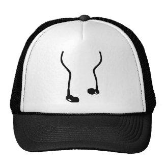 Headphones in ear trucker hat