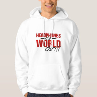 Headphones In World Out Hoodie (white/red)