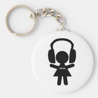 Headphones Jamming Metal Music Basic Round Button Key Ring