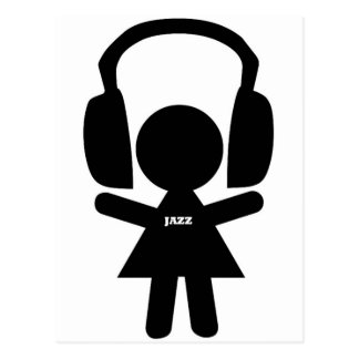 Headphones Jazz Music Postcard
