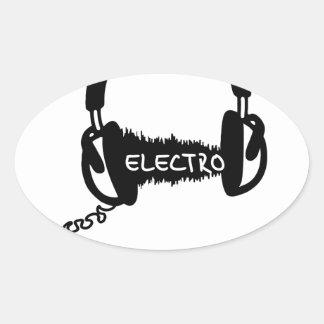 Headphones Kopfhörer Audio Wave Electro Elektro Mu Oval Sticker