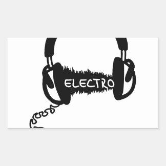 Headphones Kopfhörer Audio Wave Electro Elektro Mu Rectangular Sticker