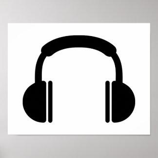 Headphones music DJ Poster