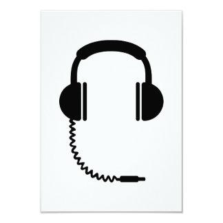 Headphones music sound 3.5x5 paper invitation card