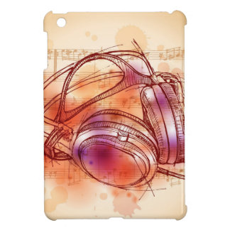Headphones on a watercolor background & notes cover for the iPad mini