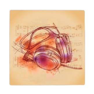 Headphones on a watercolor background & notes wood coaster