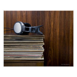 Headphones on Records Poster