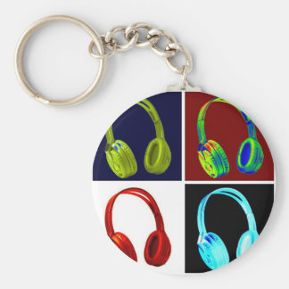 Headphones Pop Art Basic Round Button Key Ring