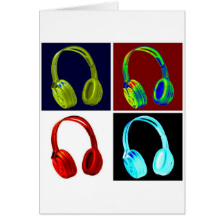 Headphones Pop Art Greeting Card