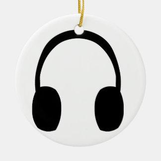 Headphones Round Ceramic Decoration