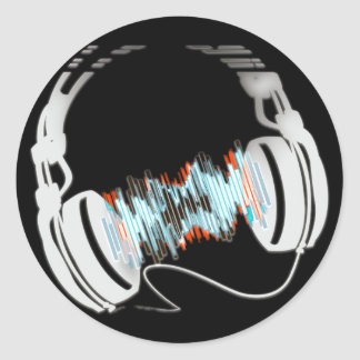 Headphones Round Sticker