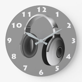 HEADPHONES (WITH WHITE NUMERALS) Wall Clock