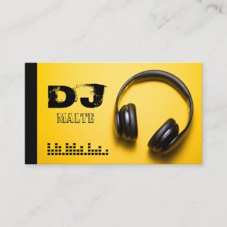 Headphones Yellow DJ Business Card