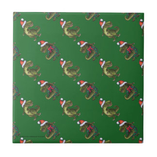 Heads and Tails Festive TRex Green Pattern Small Square Tile