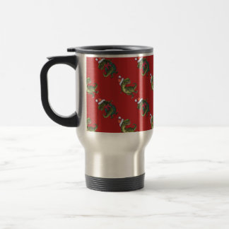 Heads and Tails Festive TRex Pattern Stainless Steel Travel Mug