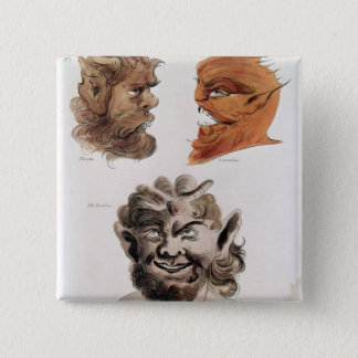 Heads of Evil Demons 15 Cm Square Badge