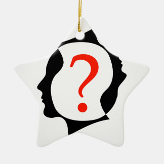 heads with a question mark christmas ornament
