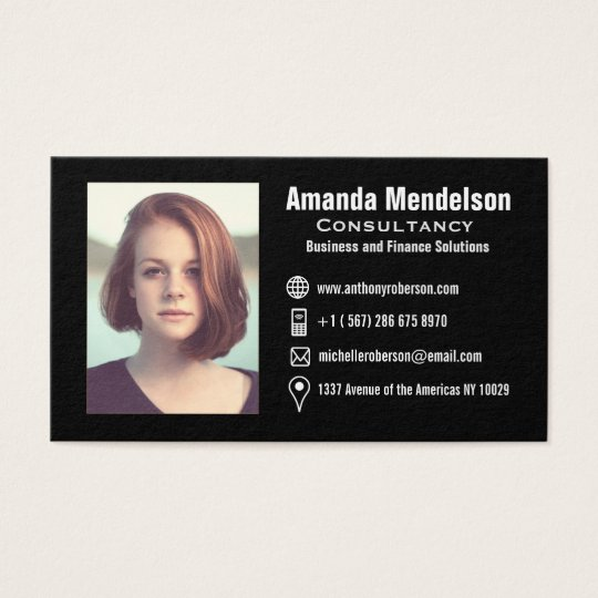 Headshot and social media icons business card